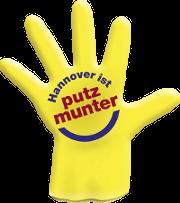 Putzmunter-Logo Handschuh